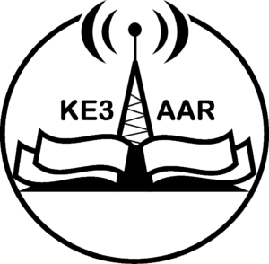 EAAR logo (book, radio antenna, and KE3AAR)