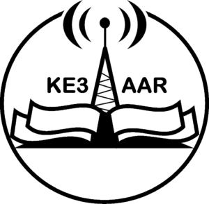 EAAR logo (book, radio antenna, and KE3AAR)